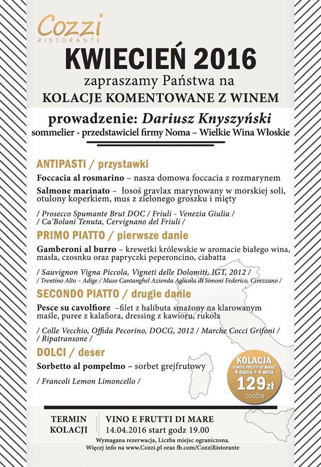 Kolacja z winem - kwiecień 2016